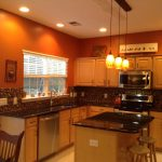 Enchanting Orange And Brown Kitchen Decor Of Burnt With New Lighting