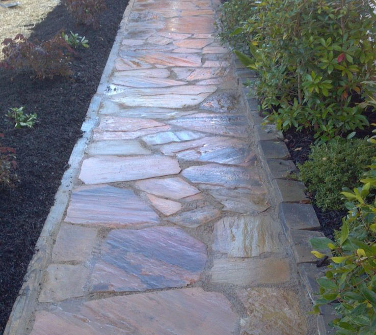 Endearing Natural Stone Walkway Of Installed In Grayson Ga By Bailey Construction