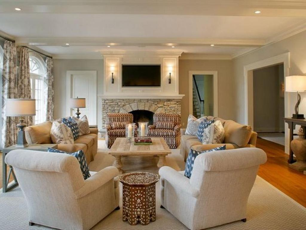 Image of: Exquisite How To Arrange Living Room Furniture With Fireplace And Tv Of Around A Corner Acnn Decor