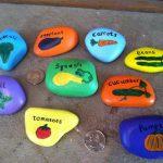 Exquisite Painted Garden Stones Of Hand Or Markers Rock Art Vegetables Carrots
