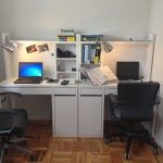 Exquisite Two Person Work Desk Of Micke Stations From Ikea And Clip