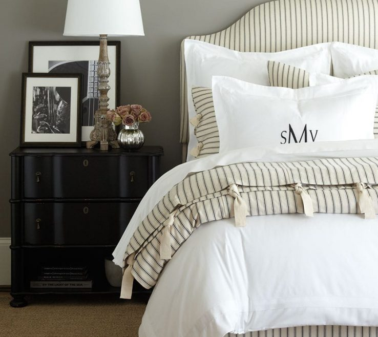 Extraordinary Neutral Bedroom Of Gray With Ticking Stripe Bedding And Headboard