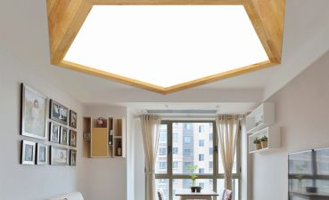 Eye Catching Ceiling Bedroom Lights Of Creative Geometric Led Wood Light Warm Romantic