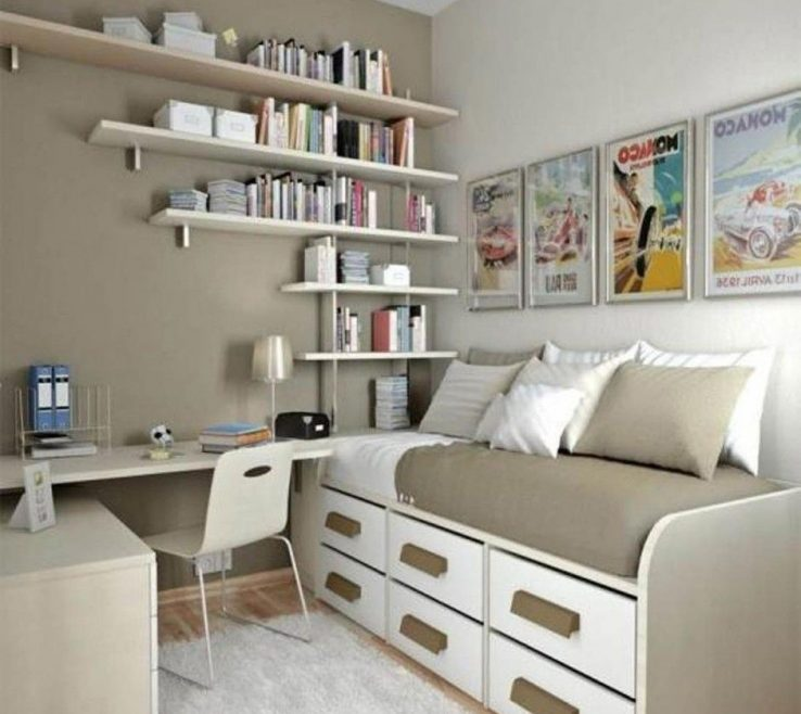 Eye Catching Small Office Ideas Of Bedroom Natural Bedroom With Creative Book Storage
