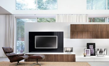 Eye Catching Wall Unit Designs For Small Living Room Of Open Air With White Bine