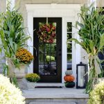 Flower Arrangements For Front Door Of Add Several Pumpkins Lanterns Cornstalks And Late