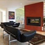 Glass Block Fireplace Of Charming Black Leather Sofa With Tile Floor