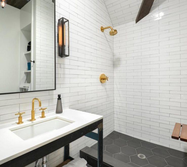 Glass Floor Tile Bathroom Of Subway Pictures Black Stainless Steel Handle Chevron