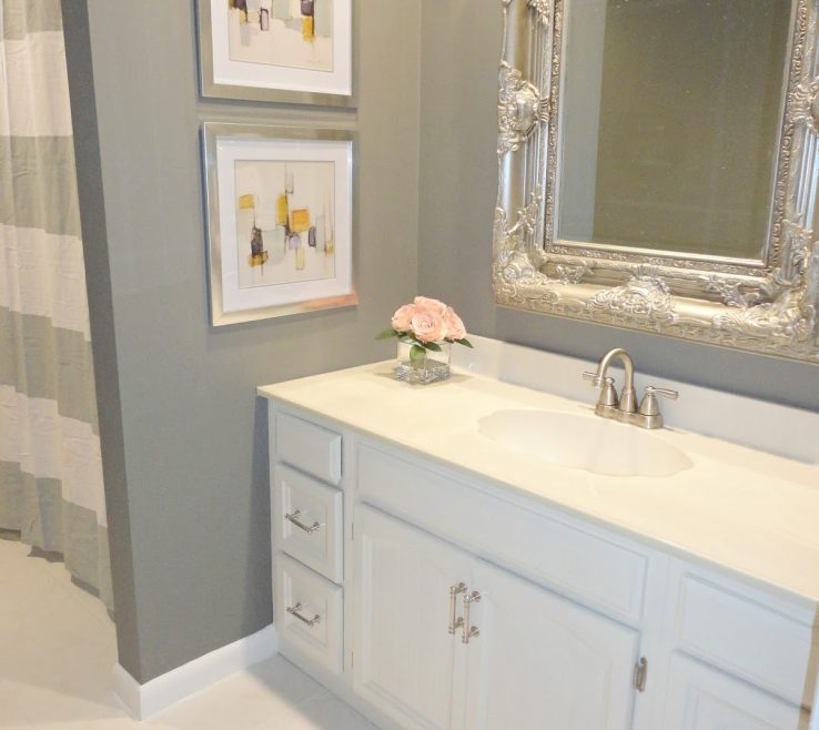 Ideas To Remodel A Bathroom Of Modern Diy On Budget With Grey Wall