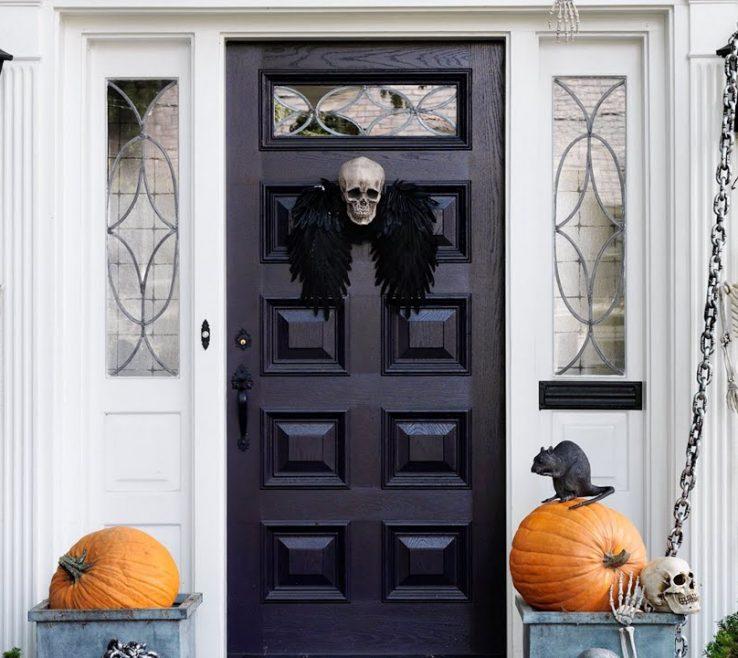 Impressing Decorating With Doors Of Spooky Halloween Decorations For Your Front Door