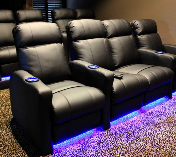 Inspiring Media Room Color Ideas Of Furniture Seating With Black Leather And Built