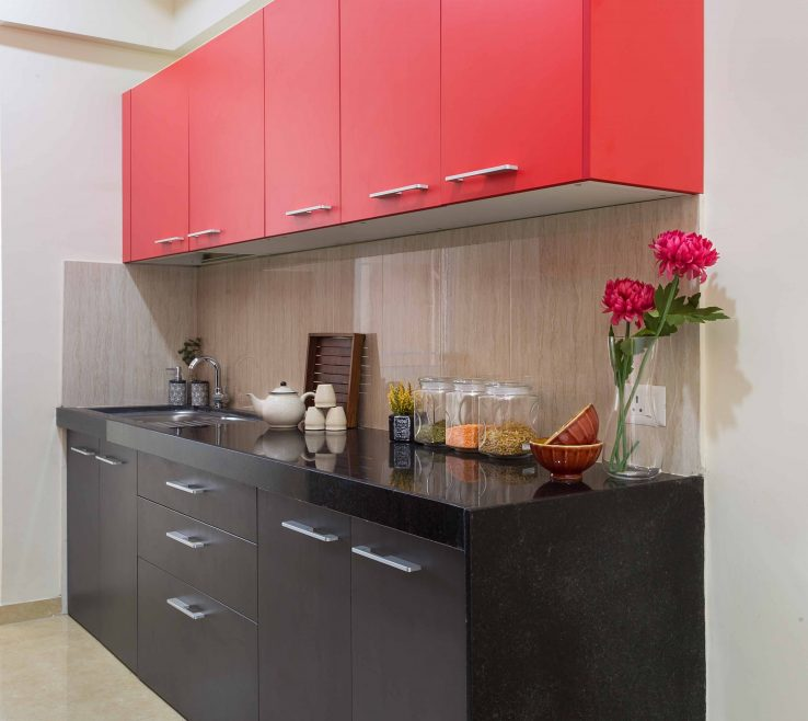 Inspiring Red And Black Kitchen Designs Of Modular In Pop Colors Black A Beige