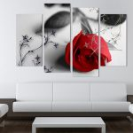 Interior Design For Modern Wall Painting Of Hot Sell Red Flowers Art Canvas Pictures