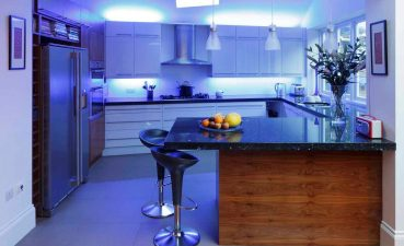 Led Lighting For Kitchen Ceiling Of Image Of Blue Lights