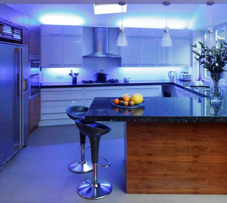 Led Lighting For Kitchen Ceiling Of Image Of Blue Lights