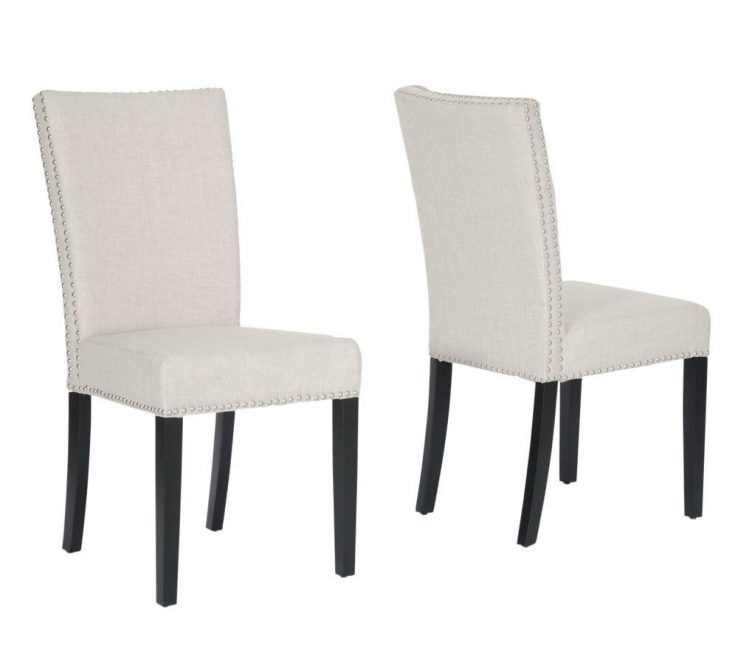 Likeable Modern Upholstered Dining Chairs Of Harrowgate Beige Fabric Set
