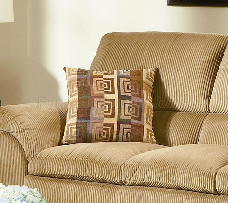 Lovely Casual Living Room Furniture Of Camel Corduroy Fabric Sofa Woptions
