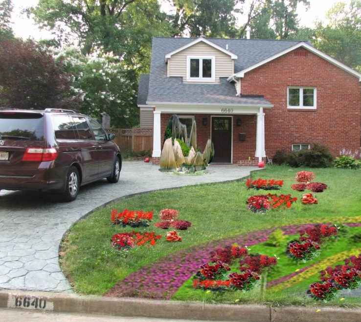 Lovely E Driveway Designs Of Front Yard Landscaping Ideas