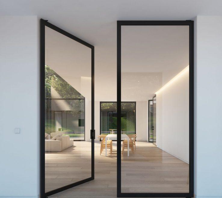 Magnificent Modern Glass Exterior Doors Of Double Door With Steel Look Frames Portapivot
