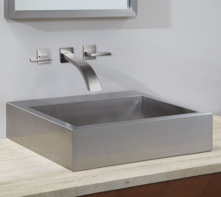 Modern Bathroom Basins Of Clarendon Stainless Steel Square Vessel Sink