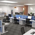 Modern Office Design Layout Of With Height Table Desks Standing