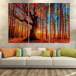 Modern Wall Painting Of Piece Autumn Sun Red Tree Maple