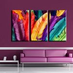 Picturesque Modern Wall Painting Of pcs Art Canvas Print Colorful Feather Frameless