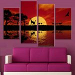 Picturesque Modern Wall Painting Of Pcsset Unframed Canvas Elegant Red Tone