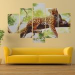 Picturesque Modern Wall Painting Of Bination Canvas Print Leopard Art Drawing