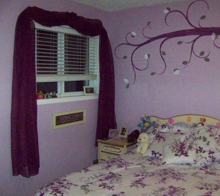 Purple Interior Paint Of Light Bedrooms With Curtains