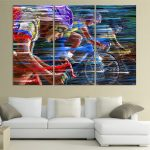 Remarkable Modern Wall Painting Of Piece Cool Bicycle Sport Race Colorful