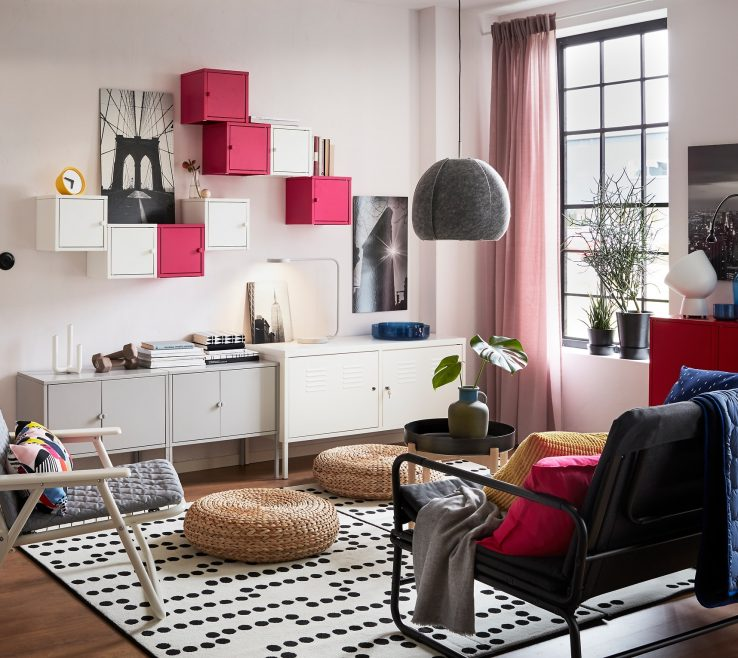 Remarkable Pink And Gray Living Room Of A White With Free Standing Wall Mounted Lixhult