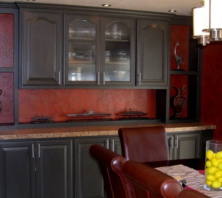 Remarkable Red And Black Kitchens Of Kitchen S With Walls
