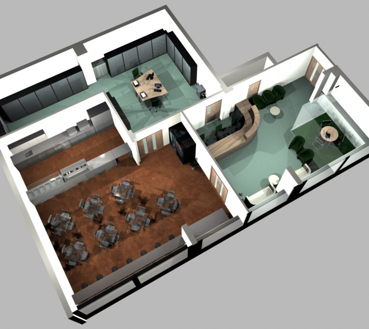 Small Office Layout Design Of Space D Render Of Redesigned Canteen
