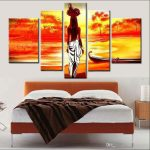 Sophisticated Modern Wall Painting Of Unframed Hand Painted Abstract Elegantn Girl Home