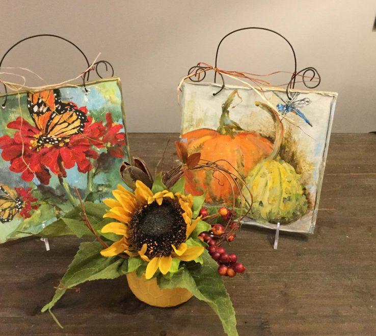 Sunflower Arrangement Of Red Zinnia With Butterfly Andamp Pumpkin Gourd