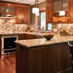 Terrific Orange And Brown Kitchen Decor Of Mosaic Tile Backsplash