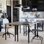 Terrific Two Person Work Desk Of A Black And White Kitchen With Tables