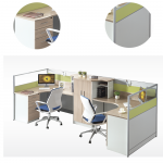 Two Person Work Desk Of Green Color Station Half Round Puter