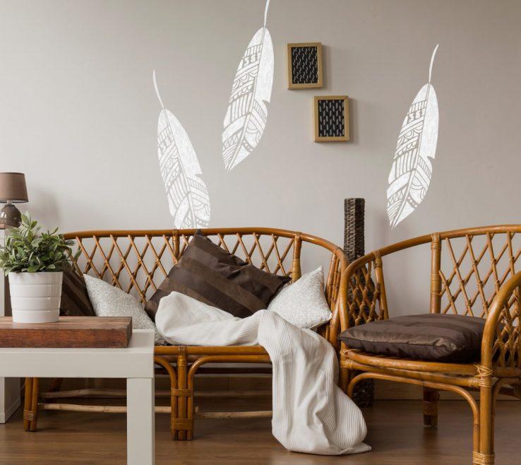 Unique Interior Design Stencils Of Conceptreview J Boutique Bohemian Feather Wall Stencil