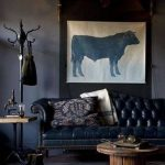 Unique Masculine Interior Decorating Of Classic Wall Art With Gray Bison Picture