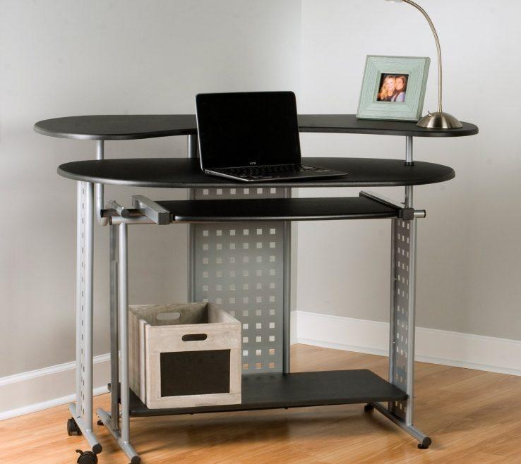 Vanity Corner Office Desk Of Hutch Wooden Black