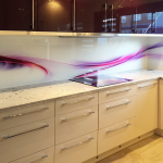 Adorable Printed Glass Backsplash Of Splashback Purple Abstract Waves