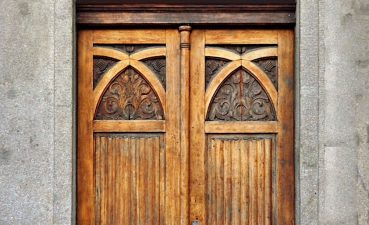 Amazing Stained Glass Window Ideas Of Over A Carved Wooden Door Location Unknown