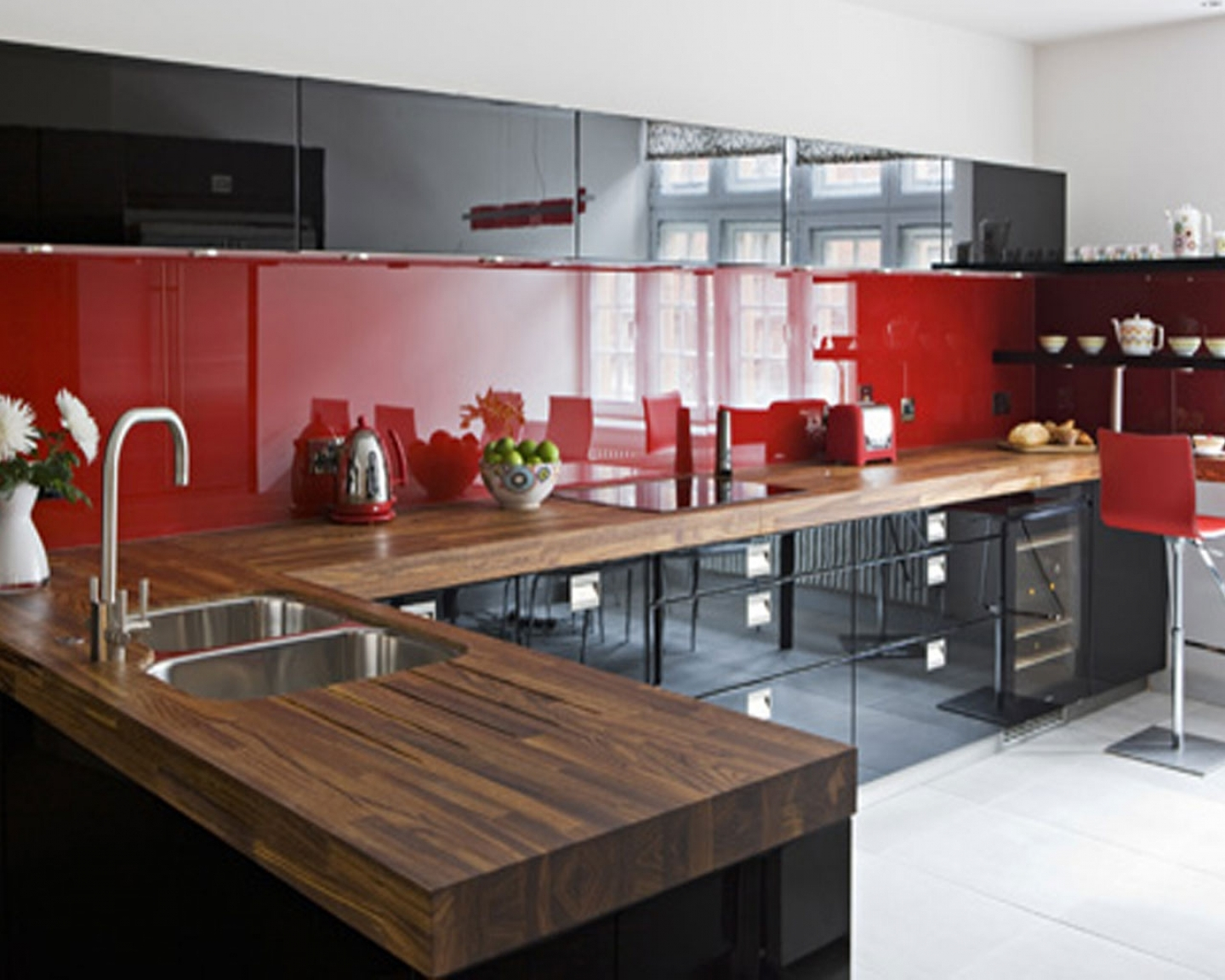 Red White And Black Kitchen Tiles Acnn Decor