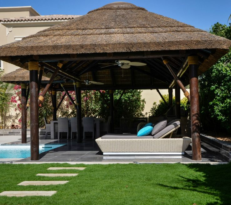 Attractive Thatched Gazebo Roof Of With Seating Andamp Dining Area Outdoor Covering