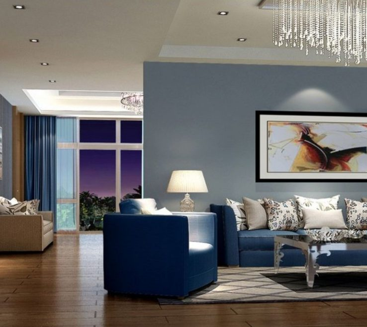 Beautiful Blue Living Room Of New