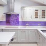 Beautiful Printed Glass Backsplash Of purple Dandelion Kitchen Splashback Creoglass