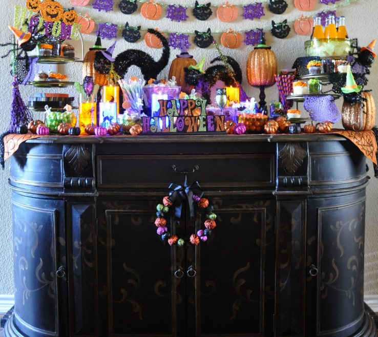 Brilliant Black And Purple Halloween Decorations Of The Painted Console Was The Perfect Stage