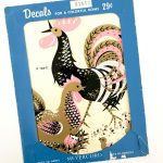 Cool Vintage Kitchen Decals Of Meyercord Rooster Chicken Stickers Ed Pink Black